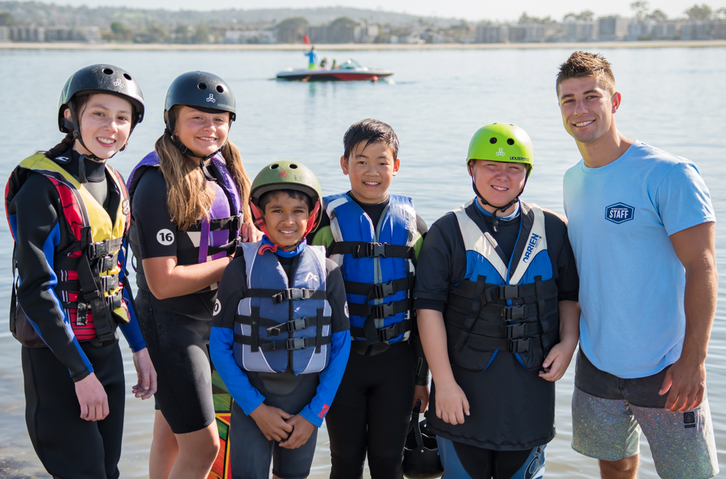 Wakeboarding camp group.